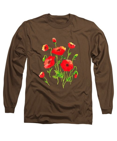 Playful Poppy Flowers Long Sleeve T-Shirt