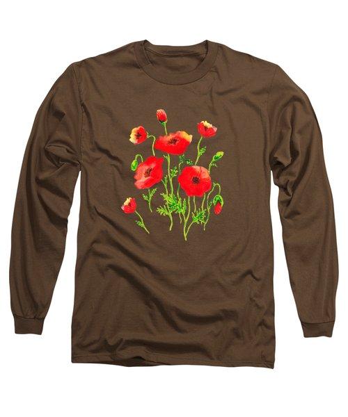 Playful Poppy Flowers Long Sleeve T-Shirt