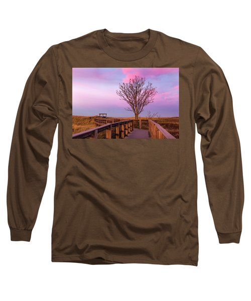Plum Island Boardwalk With Tree Long Sleeve T-Shirt by Betty Denise