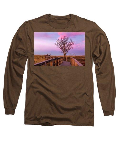 Plum Island Boardwalk With Tree Long Sleeve T-Shirt