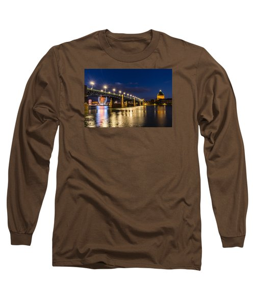 Pont Saint-pierre With Street Lanterns At Night Long Sleeve T-Shirt by Semmick Photo