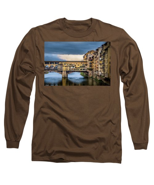Long Sleeve T-Shirt featuring the photograph Ponte Vecchio E Gabbiani by Sonny Marcyan