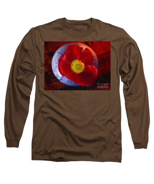 Poppy On Orange Long Sleeve T-Shirt