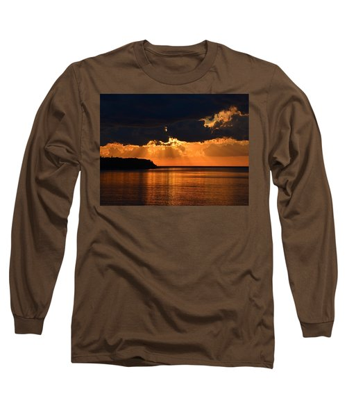 Porcupine Mountains Superior Sunset Long Sleeve T-Shirt by Keith Stokes