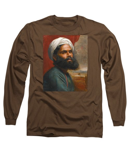 Long Sleeve T-Shirt featuring the painting Portrait Of An Indian Sardar by Edwin Frederick Holt