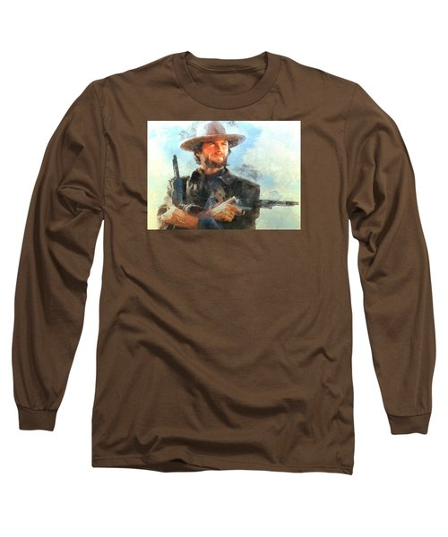 Portrait Of Clint Eastwood Long Sleeve T-Shirt by Charmaine Zoe