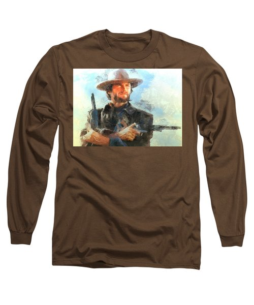 Portrait Of Clint Eastwood Long Sleeve T-Shirt