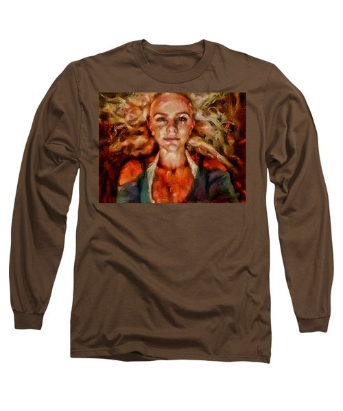Long Sleeve T-Shirt featuring the painting Portrait Of Female With Hair Billowing Everywhere In Radiant Unsmiling Sharp Features Golden Warm Colors And Upturned Nose Curls And Aliens Of The Departure by MendyZ