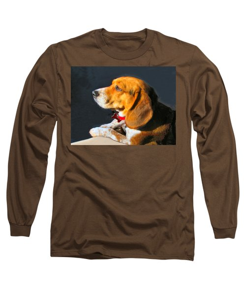 Portrait Of Pebbles - The Independent Beagle Long Sleeve T-Shirt