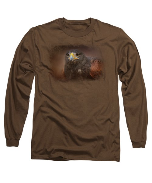 Portrait Of The Harris Hawk Long Sleeve T-Shirt by Jai Johnson
