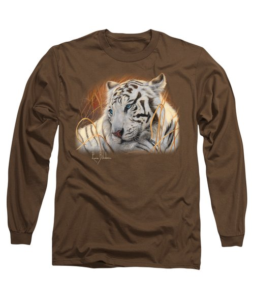 Portrait White Tiger 1 Long Sleeve T-Shirt by Lucie Bilodeau