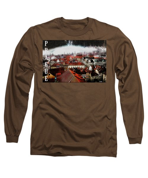 Long Sleeve T-Shirt featuring the painting Prague Old Town Poster by Kai Saarto