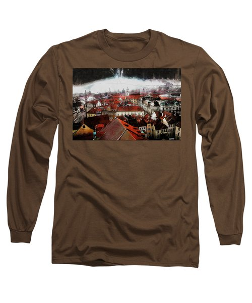 Long Sleeve T-Shirt featuring the painting Prague Skyline by Kai Saarto
