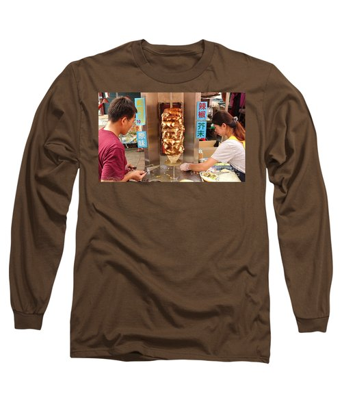 Long Sleeve T-Shirt featuring the photograph Preparing Shawarma Meat In Bread Buns by Yali Shi
