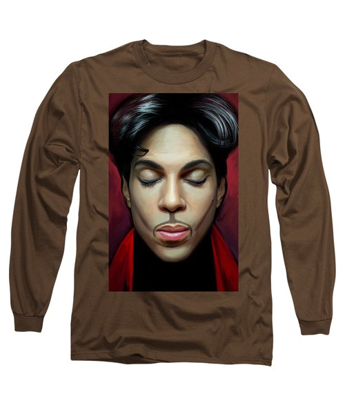 Long Sleeve T-Shirt featuring the painting Prince Artwork 2 by Sheraz A