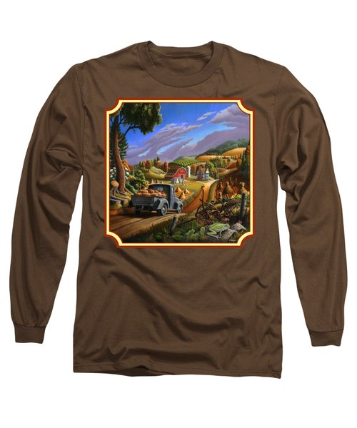 Pumpkins Farm Folk Art Fall Landscape - Square Format Long Sleeve T-Shirt by Walt Curlee