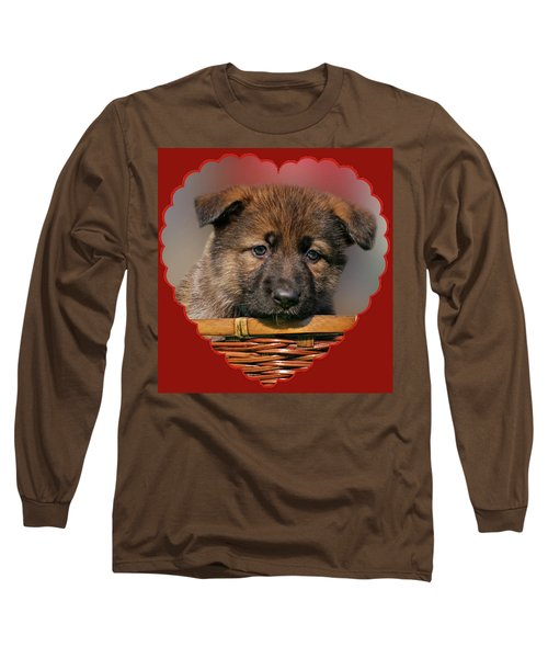 Long Sleeve T-Shirt featuring the photograph Puppy In Red Heart by Sandy Keeton