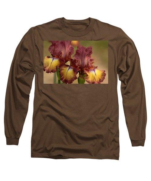 Long Sleeve T-Shirt featuring the photograph Purple And Yellow Bearded Iris by Sheila Brown
