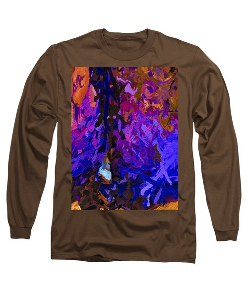 Long Sleeve T-Shirt featuring the painting Purple Cave by Joan Reese