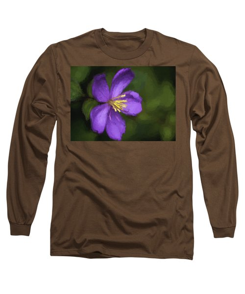 Long Sleeve T-Shirt featuring the photograph Purple Flower Macro Impression by Dan McManus