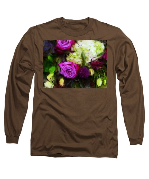 Purple Roses With Hydrangea Long Sleeve T-Shirt