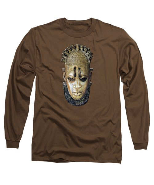 Queen Mother Idia - Ivory Hip Pendant Mask - Nigeria - Edo Peoples - Court Of Benin On Red Velvet Long Sleeve T-Shirt