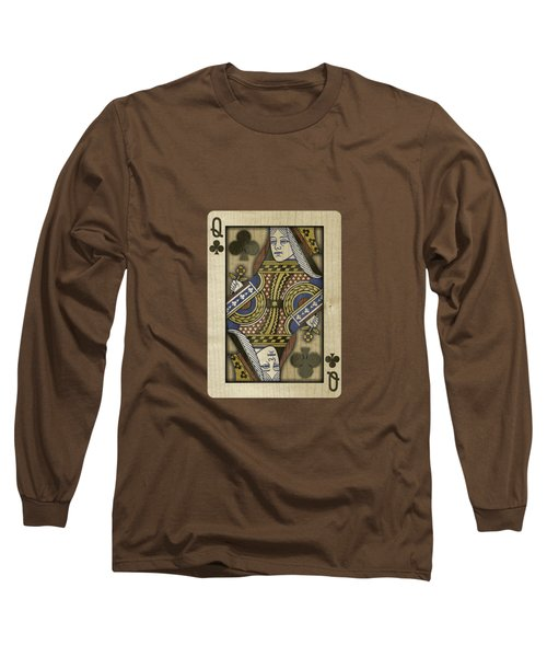 Queen Of Clubs In Wood Long Sleeve T-Shirt