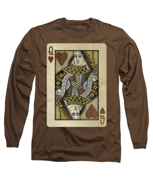 Queen Of Hearts In Wood Long Sleeve T-Shirt