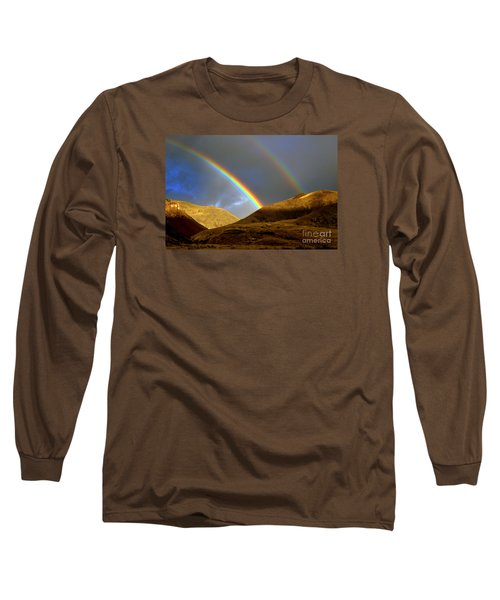 Long Sleeve T-Shirt featuring the photograph Rainbow In Mountains by Irina Hays
