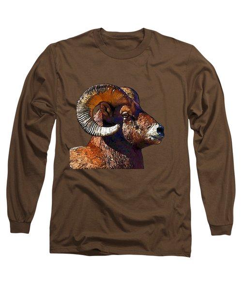 Ram Portrait - Rocky Mountain Bighorn Sheep By Olena Art Long Sleeve T-Shirt