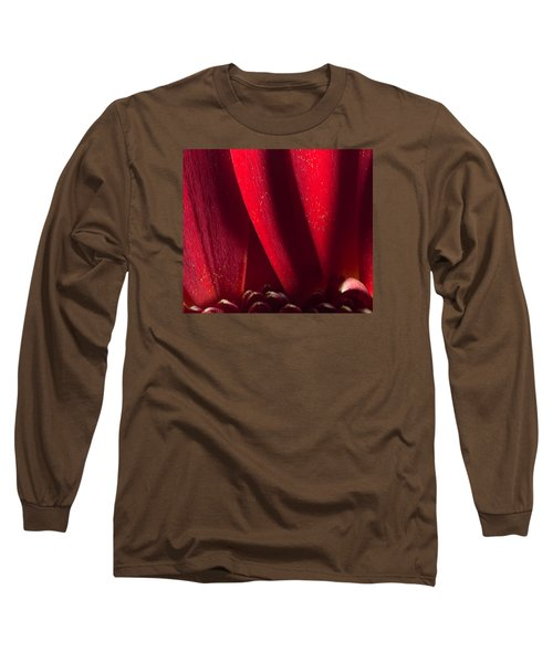 Golden Pollen Red Chrysanthemum Long Sleeve T-Shirt by John Williams