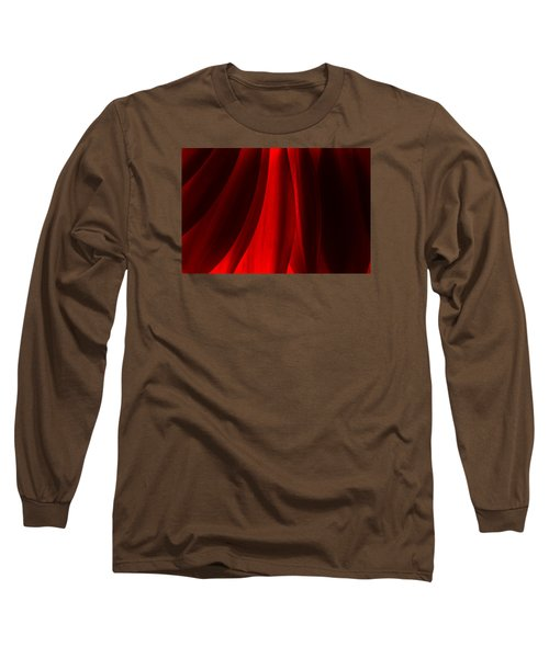 Red Abstract Of Chrysanthemum Wildflower Long Sleeve T-Shirt by John Williams