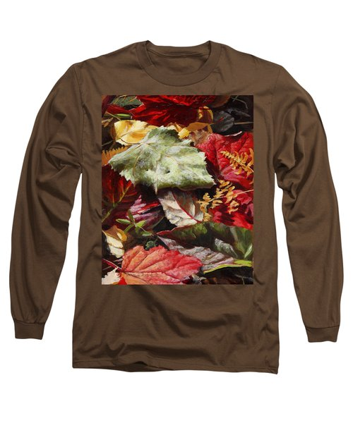 Long Sleeve T-Shirt featuring the painting Red Autumn - Wasilla Leaves by Karen Whitworth