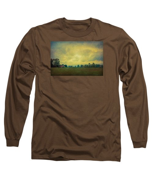 Red Barn Under Stormy Skies Long Sleeve T-Shirt by Don Schwartz