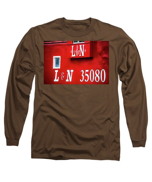 Long Sleeve T-Shirt featuring the photograph Red Caboose by Parker Cunningham