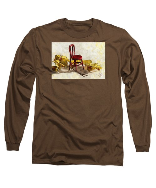 Red Chair And Yellow Leaves Long Sleeve T-Shirt by Debra Baldwin