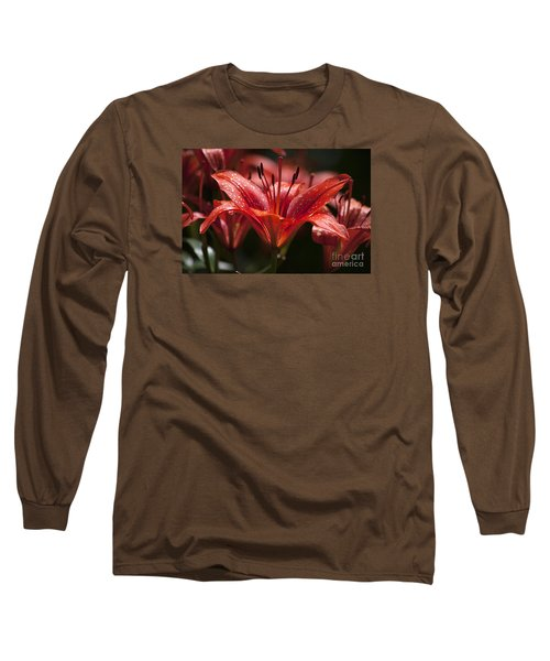 Long Sleeve T-Shirt featuring the photograph Red Day Lily 20120615_52a by Tina Hopkins