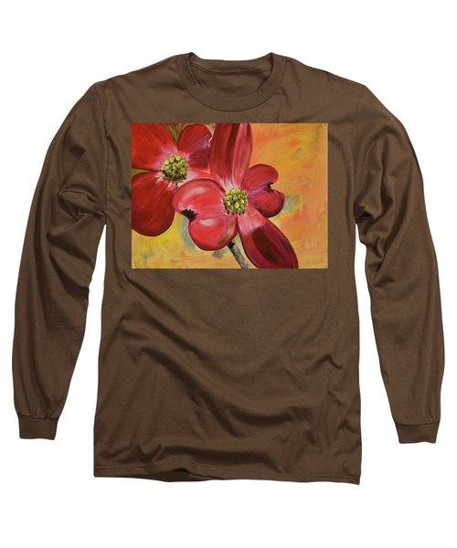 Red Dogwood - Canvas Wine Art Long Sleeve T-Shirt