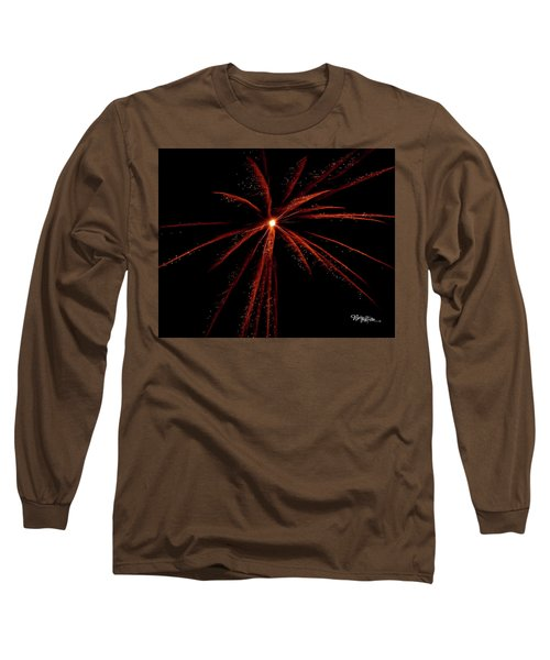 Long Sleeve T-Shirt featuring the photograph Red Fireworks #0699 by Barbara Tristan
