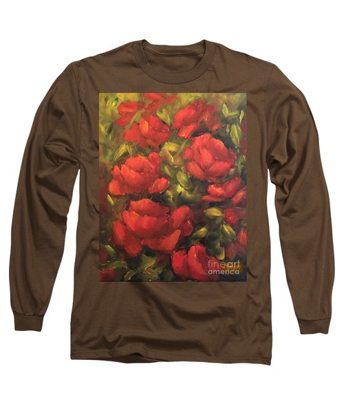 Long Sleeve T-Shirt featuring the painting Red Flowers by Inese Poga