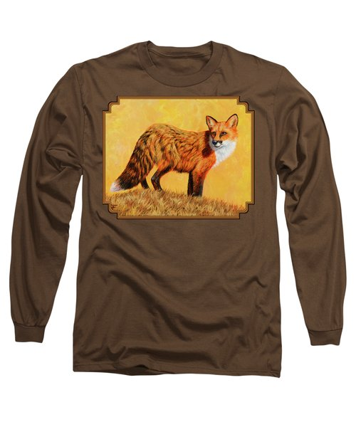 Red Fox Painting - Looking Back Long Sleeve T-Shirt