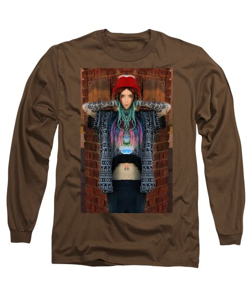 Red Hat Grunge Long Sleeve T-Shirt by Pamela Patch