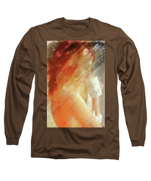 Long Sleeve T-Shirt featuring the digital art Red Head Drinking Coffee by Andrea Barbieri