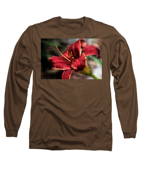 Red Lilly Long Sleeve T-Shirt by Michaela Preston