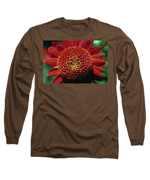 Long Sleeve T-Shirt featuring the photograph Red Mum Center by Sally Weigand