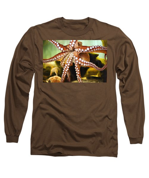 Red Octopus Long Sleeve T-Shirt by Marilyn Hunt