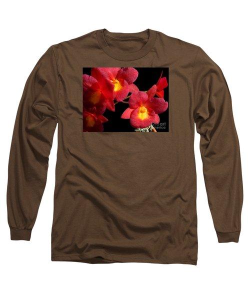 Red Orchids Long Sleeve T-Shirt by Merton Allen