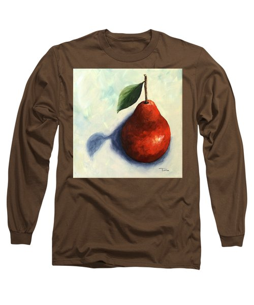 Red Pear In The Spotlight Long Sleeve T-Shirt by Torrie Smiley