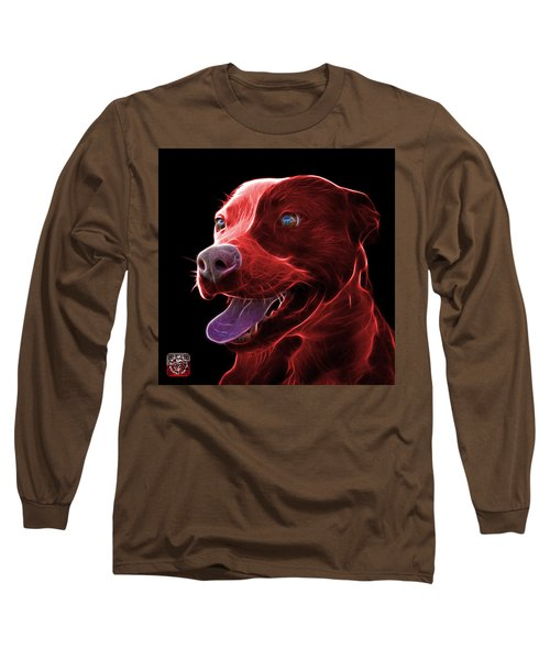 Red Pit Bull Fractal Pop Art - 7773 - F - Bb Long Sleeve T-Shirt