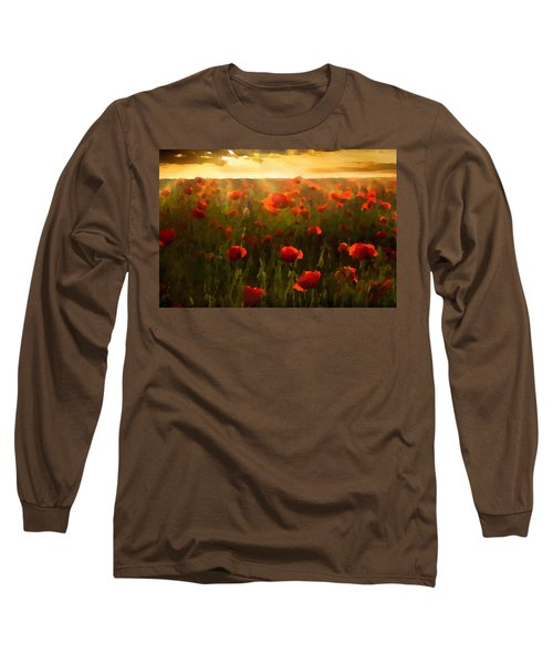 Red Poppies In The Sun Long Sleeve T-Shirt